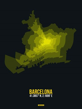 Framed Barcelona Radiant Map 1 Print