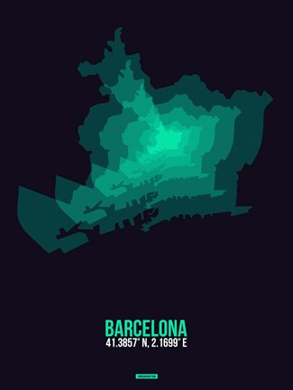 Framed Barcelona Radiant Map 2 Print