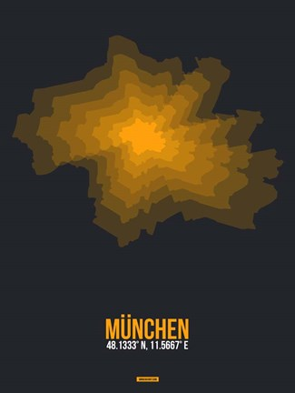 Framed Munchen Radiant Map 3 Print