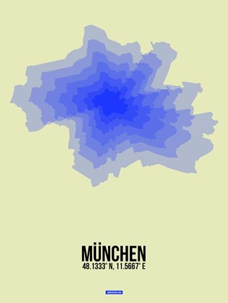 Framed Munchen Radiant Map 4 Print