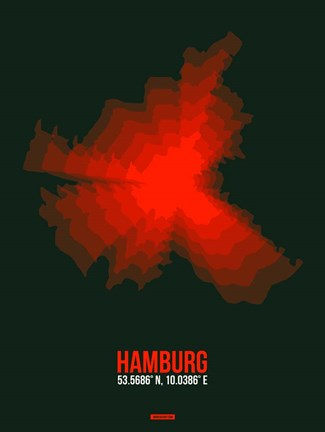 Framed Hamburg Radiant Map 4 Print