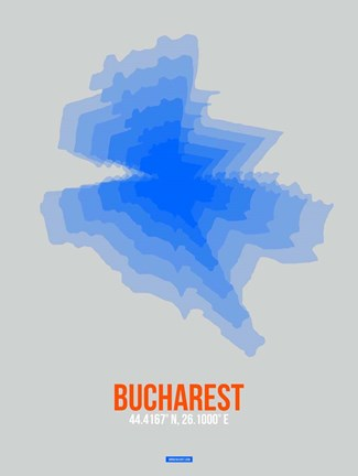 Framed Bucharest Radiant Map 2 Print