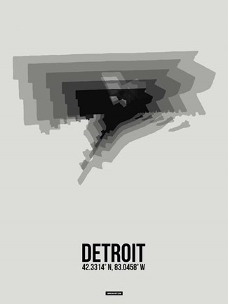 Framed Detroit Radiant Map 5 Print