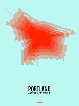 Framed Portland Radiant Map 1 Print
