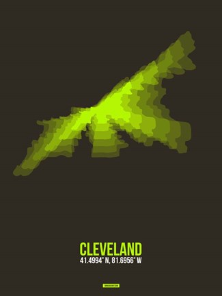 Framed Cleveland Radiant Map 1 Print