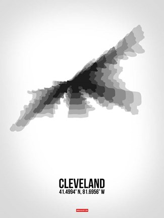 Framed Cleveland Radiant Map 4 Print