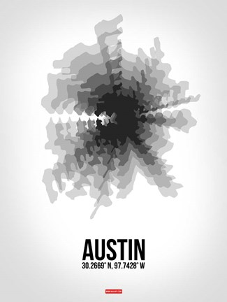 Framed Austin Radiant Map 4 Print