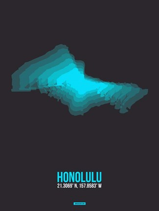 Framed Honolulu Radiant Map 3 Print