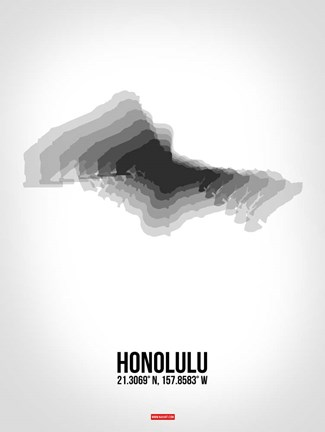 Framed Honolulu Radiant Map 6 Print