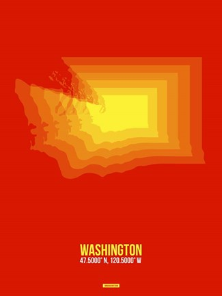 Framed Washington Radiant Map 1 Print