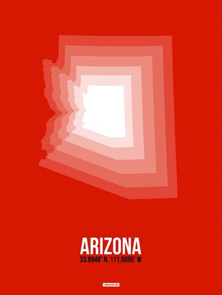 Framed Arizona Radiant Map 4A Print