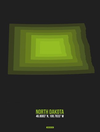 Framed North Dakota Radiant Map 5 Print