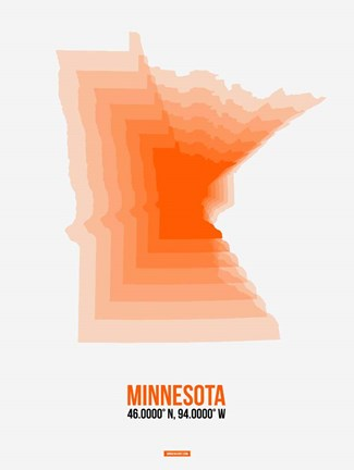 Framed Minnesota Radiant Map 1 Print