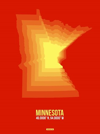 Framed Minnesota Radiant Map 2 Print
