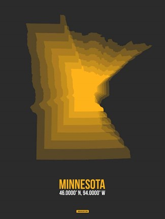 Framed Minnesota Radiant Map 5 Print