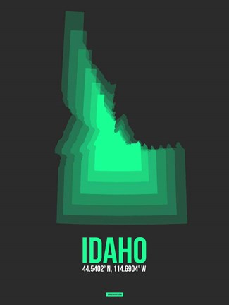 Framed Idaho Radiant Map 5 Print