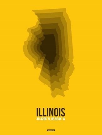 Framed Illinois Radiant Map 3 Print