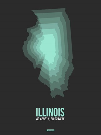 Framed Illinois Radiant Map 4 Print