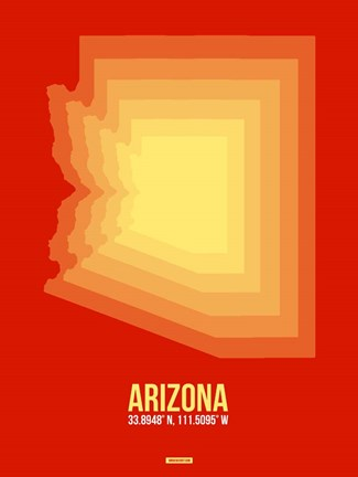 Framed Arizona Radiant Map 3B Print