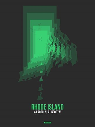 Framed Rhode Island Radiant Map 6 Print