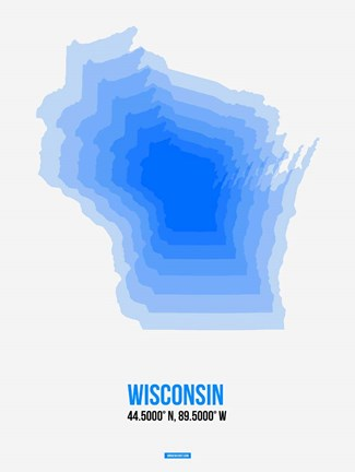 Framed Wisconsin Radiant Map 1 Print