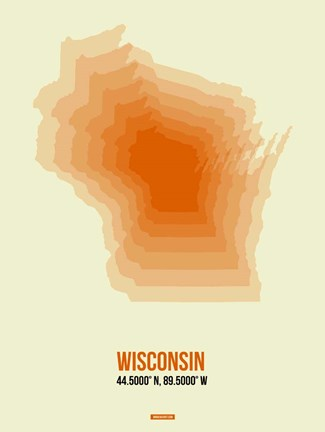 Framed Wisconsin Radiant Map 2 Print