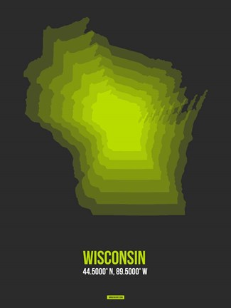 Framed Wisconsin Radiant Map 4 Print