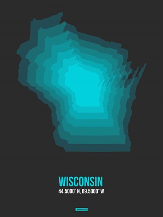 Framed Wisconsin Radiant Map 5 Print