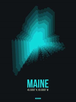 Framed Maine Radiant Map 6 Print