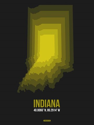 Framed Indiana Radiant Map 6 Print