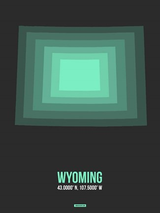 Framed Wyoming Radiant Map 4 Print