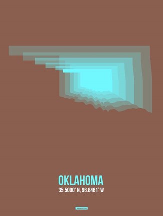 Framed Oklahoma Radiant Map 2 Print