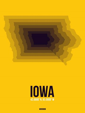 Framed Iowa Radiant Map 3 Print