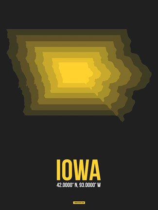 Framed Iowa Radiant Map 4 Print