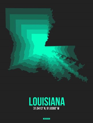 Framed Louisiana Radiant Map 6 Print