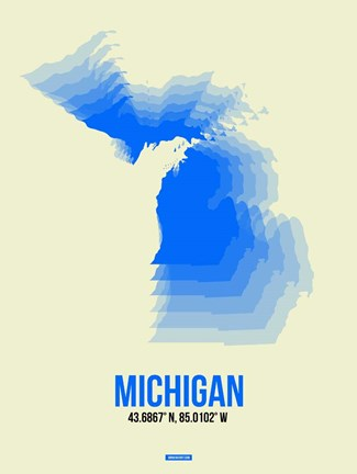 Framed Michigan Radiant Map 1 Print