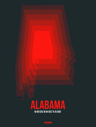 Framed Alabama Radiant Map 4 Print