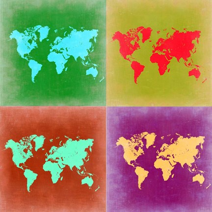 Framed Pop Art World Map 3 Print