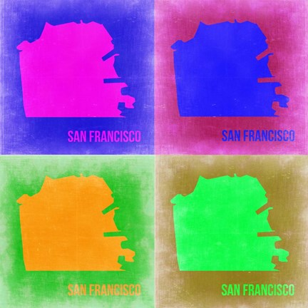 Framed San Francisco Pop Art Map 2 Print