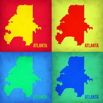 Framed Atlanta Pop Art Map 1 Print