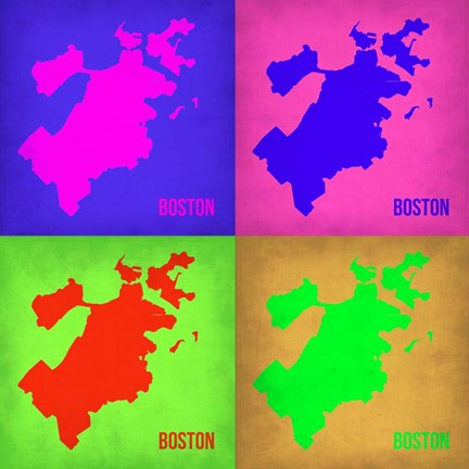 Framed Boston Pop Art Map 1 Print