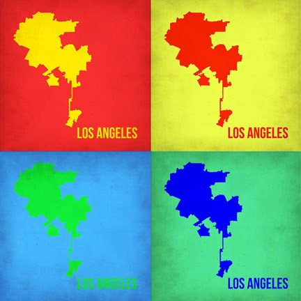 Framed Los Angeles Pop Art Map 1 Print