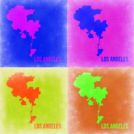 Framed Los Angeles Pop Art Map 2 Print