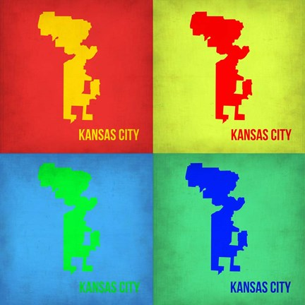 Framed KansasCity Pop Art Map 1 Print