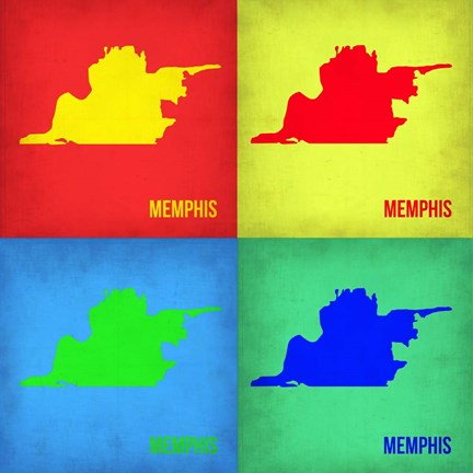 Framed Memphis Pop Art Map 1 Print