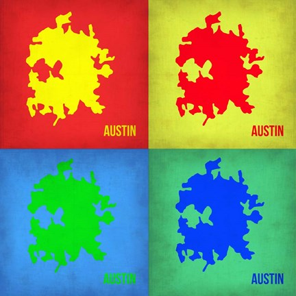 Framed Austin Pop Art Map 1 Print