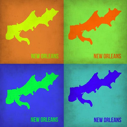 Framed New Orleans Pop Art Map 1 Print