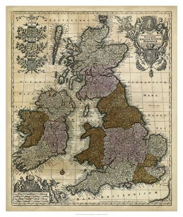 Framed Map of England, Scotland & Ireland Print