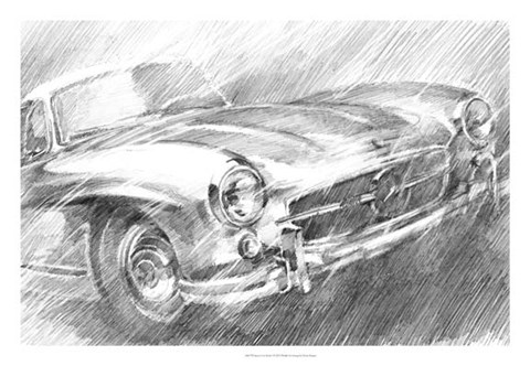 Framed Sports Car Study I Print