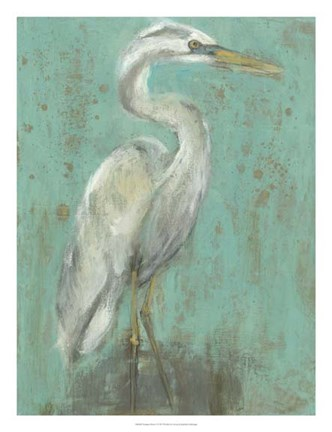 Framed Seaspray Heron I Print